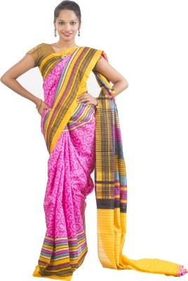 Connectshop Printed Fashion Handloom Raw Silk Sari