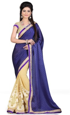 Saara Embroidered Fashion Georgette Saree(Blue) at flipkart