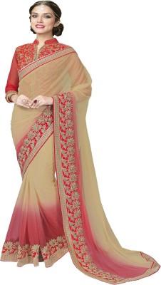 Manish Creation Embriodered, Self Design Bollywood Brocade, Net Sari