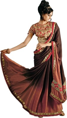 Aagamanfashion Self Design Fashion Satin Sari