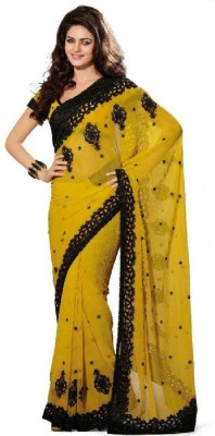 KARTHIKA SILKS AND HANDLOOMS Embriodered Bollywood Georgette Sari