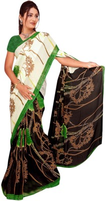 Trendz Printed Bollywood Georgette Sari(Black, Green)
