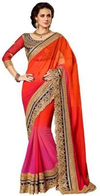 Yogi Creation Embriodered Bollywood Georgette Sari