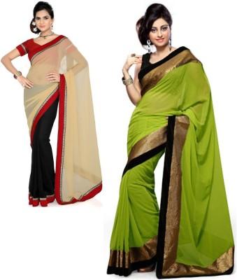 RockChin Fashions Plain Bollywood Georgette, Georgette Sari