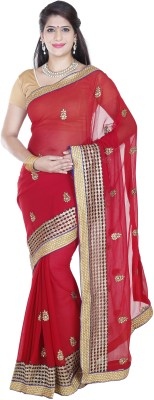 FineColors Embriodered Bollywood Georgette Sari