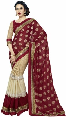 Pinchmore Designer Sarees Embriodered, Floral Print Bollywood Georgette Sari