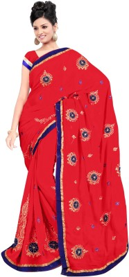 Usha Silk Mills Embriodered Fashion Georgette Sari