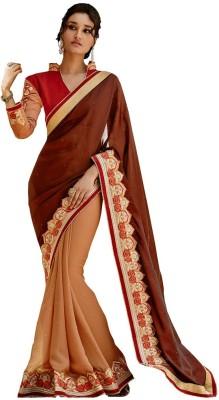 The Ethnic Chic Embriodered Fashion Satin, Georgette Sari