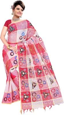 Raj Creative Checkered, Printed Hand Batik Handloom Cotton Sari