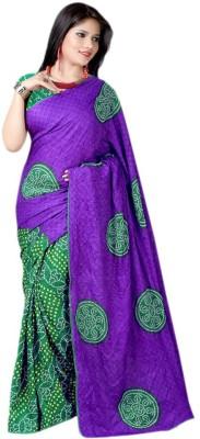 Devki Fashions Printed Bandhani Chiffon Sari