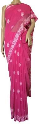 RZU Embriodered Lucknow Chikankari Georgette Sari