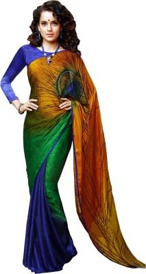 Gajaas Passions Graphic Print Bollywood Pure Crepe Sari