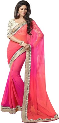 Fashion on sky Embriodered Bollywood Georgette Sari
