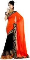 Melluha Embroidered Fashion Georgette Sari(Orange, Black)