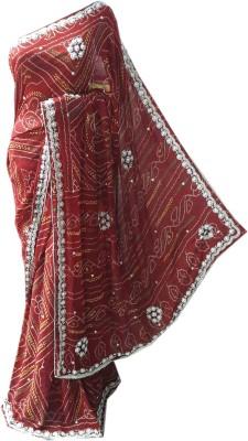 RAJASTHANI BANDEJ Self Design Bandhani Synthetic Crepe Sari
