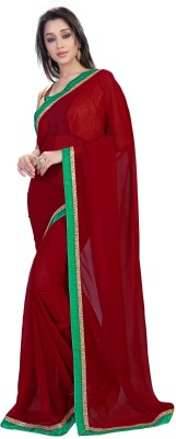 sivermoonfashion Plain Fashion Velvet Sari