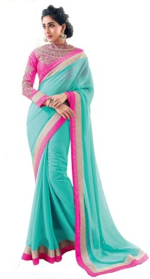 Nidhik Plain Bollywood Synthetic Chiffon Sari