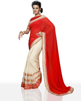 Chirag Sarees Solid Bollywood Net Sari