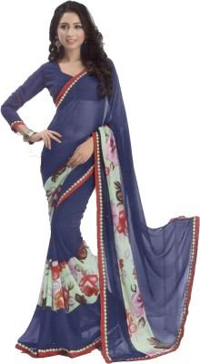 Shilpkar Floral Print Bollywood Chiffon Sari