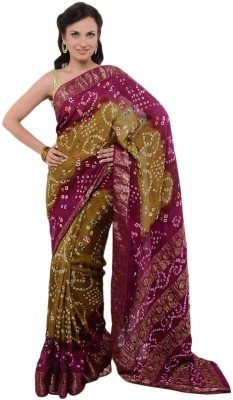 Panash Self Design Bandhej Silk Sari