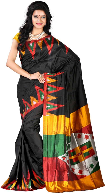 Roopkala Silks Printed Pochampally Handloom Pure Silk Saree(Black, Red)