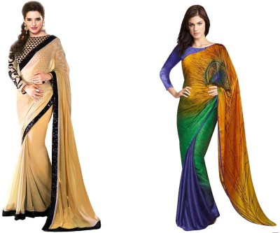 Krishna Creation Plain, Embriodered Bollywood Handloom Chiffon Sari