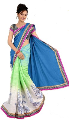 Blue Art Self Design, Floral Print, Woven, Embellished Daily Wear Cotton Sari