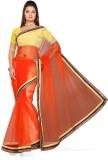 De Marca Solid Fashion Net Saree (Orange...