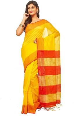Slice Of Bengal Plain Tant Silk Cotton Blend Sari