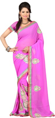 Ansu Fashion Self Design Fashion Georgette Saree(Pink) at flipkart