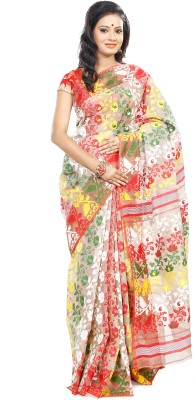 B3Fashion Floral Print Jamdani Handloom Silk Cotton Blend Sari