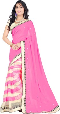 Maxusfashion Embriodered Daily Wear Chiffon Sari