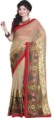 Glad2baWoman Woven, Self Design, Floral Print Bomkai Net Sari