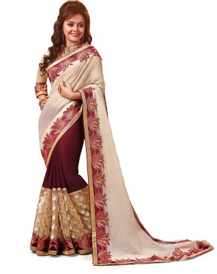 Indianbeauty Self Design, Embriodered Bollywood Pure Georgette Sari