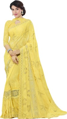 KMOZI Embriodered Fashion Chiffon Sari