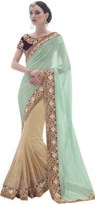 Mahotsav Embellished Fashion Net Saree(Beige) at flipkart