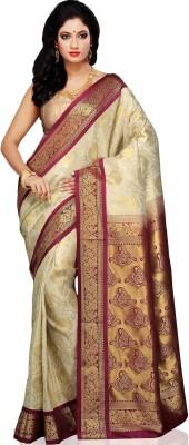 Aayori Embellished Kanjivaram Art Silk Saree(White, Maroon) at flipkart