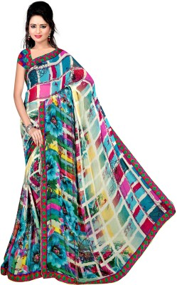 Pure Silk Graphic Print Meghalaya Georgette Sari
