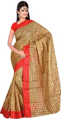 Eklavya Fashion Printed Daily Wear Khadi, Silk Sari