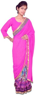 Aifaa Printed, Plain Fashion Pure Georgette Sari