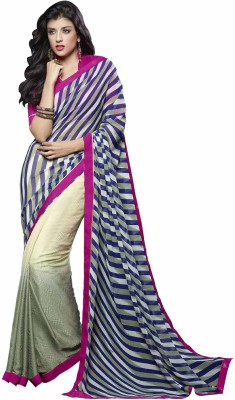 Kvsfab Embellished Fashion Georgette, Jacquard Saree(Beige, Multicolor) at flipkart