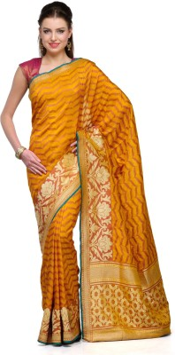 Aadhuni Self Design Banarasi Banarasi Silk Saree(Mustard) at flipkart