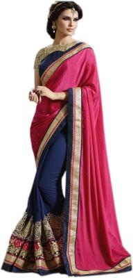 mGm Creation Self Design Fashion Georgette, Satin Sari