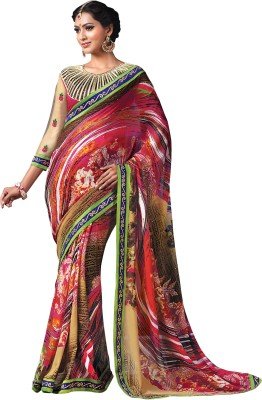 Prafful Geometric Print Fashion Georgette Sari