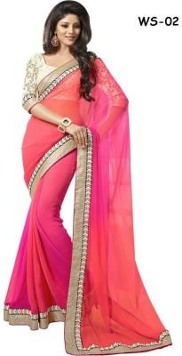 NirvaFashion Plain Bollywood Handloom Brasso, Net, Chiffon Sari