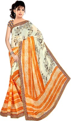 Pure Silk Graphic Print Meghalaya Georgette Saree(Multicolor) at flipkart