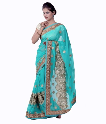 Ellegent Embroidered Fashion Georgette Saree(Light Blue) at flipkart