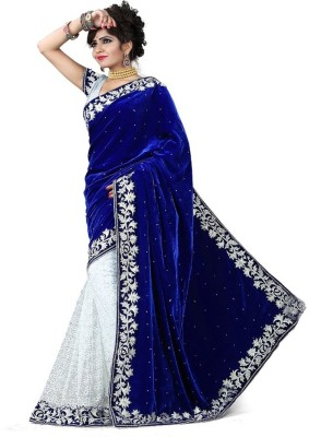 Anjani Creation Embriodered Bollywood Velvet, Brasso Sari