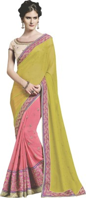 Jinaam Dress Embriodered Fashion Chiffon, Georgette Sari