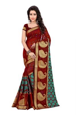 Jay Fashion Self Design Banarasi Cotton Saree(Maroon) at flipkart